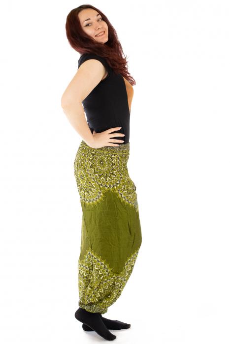 Pantaloni tip salvar femei mandala verde olive 1