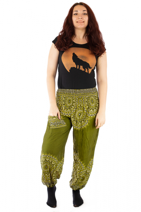 Pantaloni tip salvar femei mandala verde olive 0