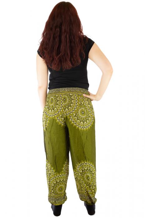 Pantaloni tip salvar femei mandala verde olive 2