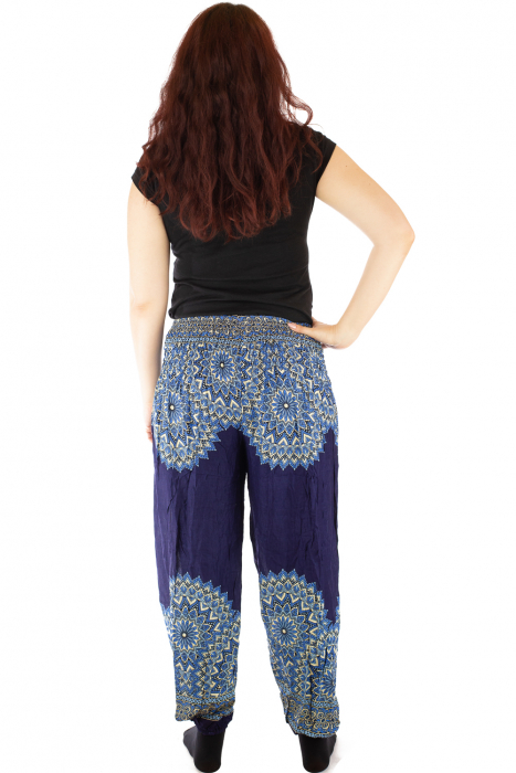 Pantaloni tip salvar femei mandala bleumarin 2