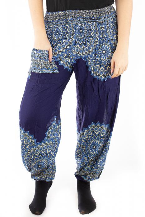 Pantaloni tip salvar femei mandala bleumarin 3