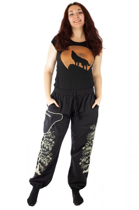 Pantaloni tip salvar pentru femei cu print 0
