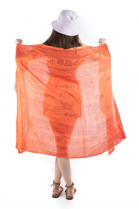 Pareo pentru plaja - portocaliu cu print rosu [5]