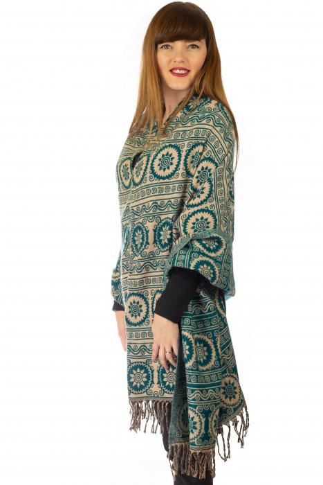 Poncho multicolor din lana - Model 10 2
