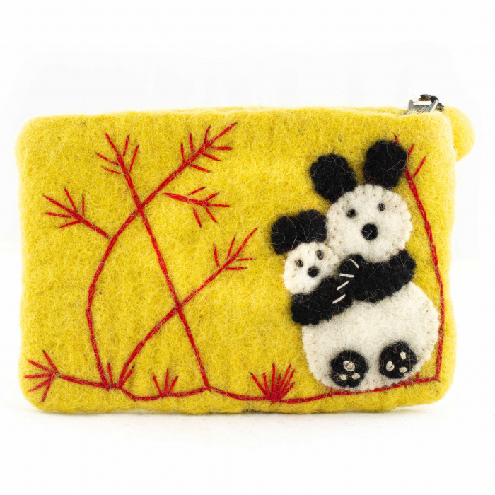 Portofel Galben din feltru - Bamboo Panda 0