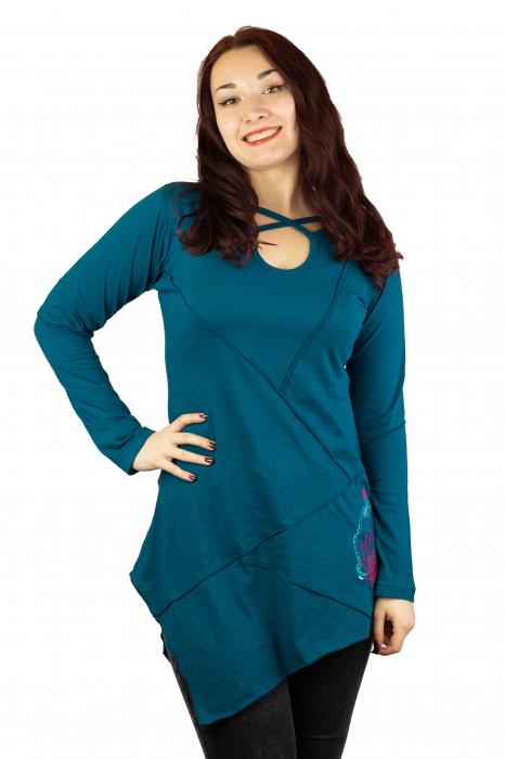 Rochie cu maneca lunga - Albastra 0