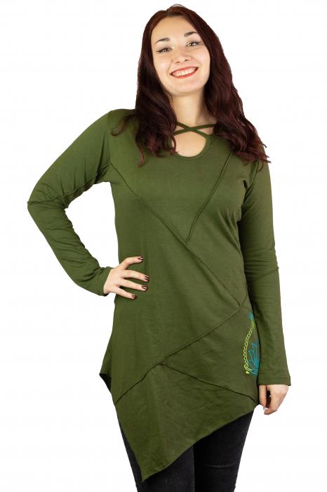 Rochie cu maneca lunga -Verde 0