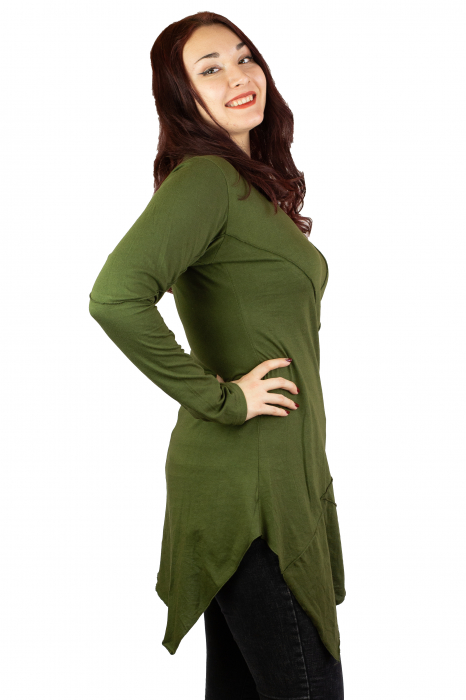 Rochie cu maneca lunga -Verde 1