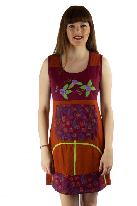 Rochie din bumbac cu broderie florala [0]