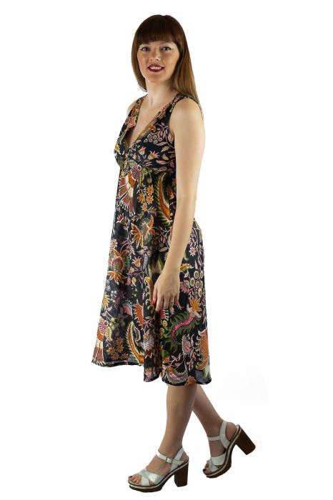 Rochie din bumbac cu imprimeu - Floral - Negru 2