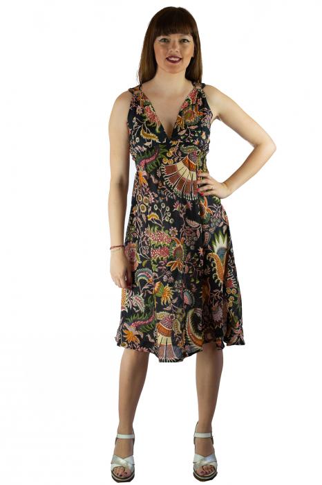 Rochie din bumbac cu imprimeu - Floral - Negru 1