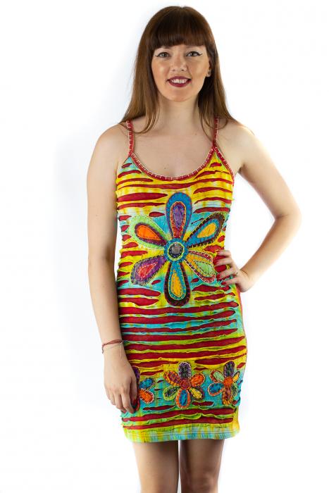 Rochie din bumbac multicolora - Razor cut - Rosu [0]