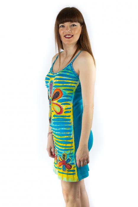 Rochie din bumbac multicolora - Razor cut - Albastru [1]