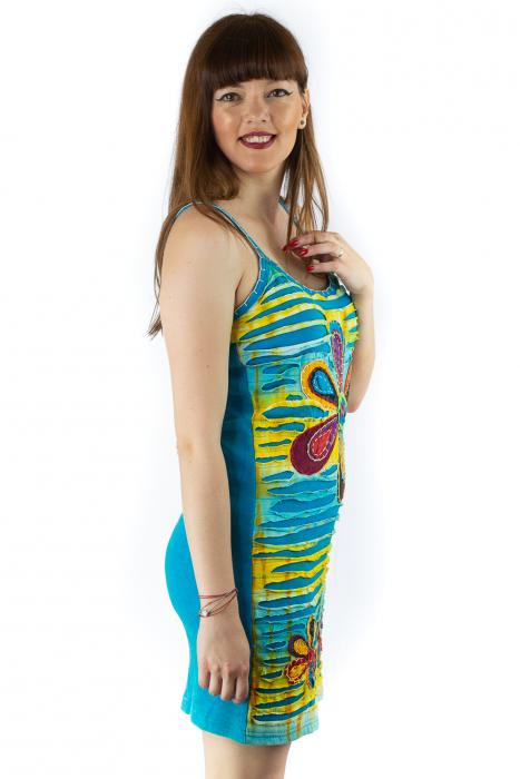 Rochie din bumbac multicolora - Razor cut - Albastru [2]