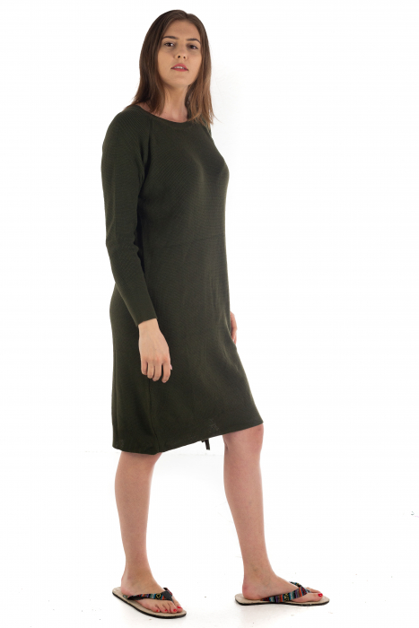 Rochie din bumbac - Verde Inchis [3]