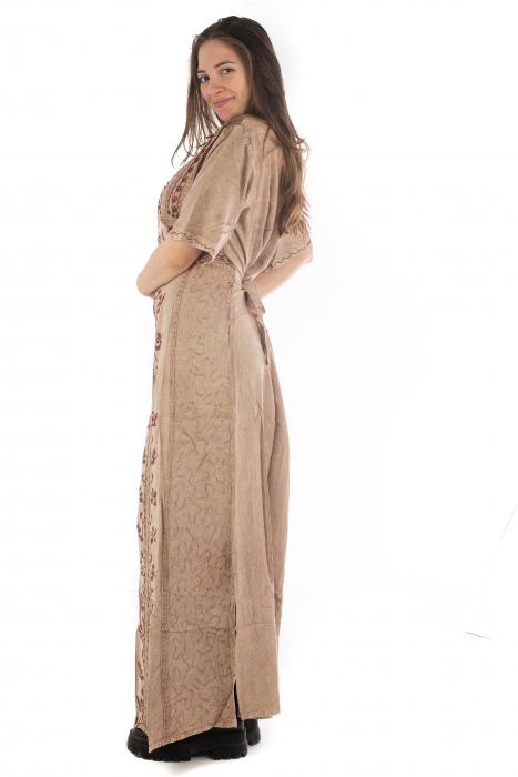 Rochie lunga cu maneca lasata roz pal - 08.AF-20294 6
