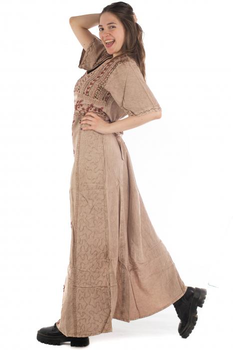 Rochie lunga cu maneca lasata roz pal - 08.AF-20294 5