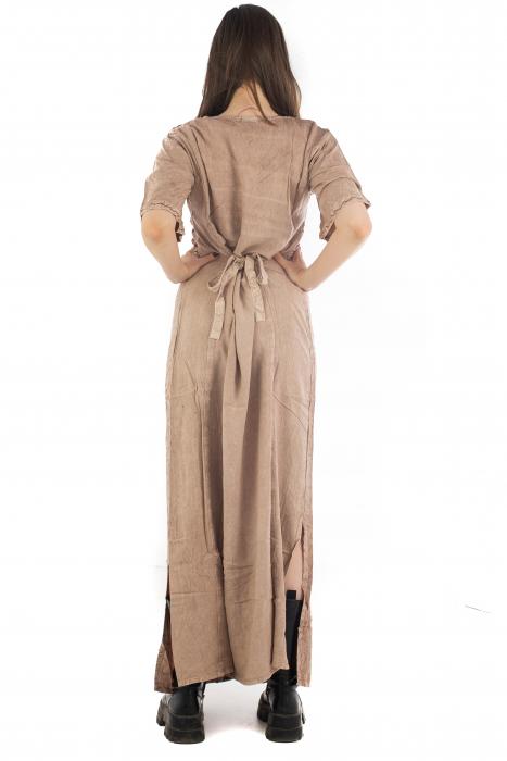 Rochie lunga cu maneca lasata roz pal - 08.AF-20294 7