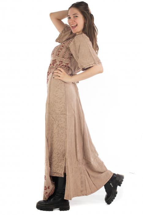 Rochie lunga cu maneca lasata roz pal - 08.AF-20294 4