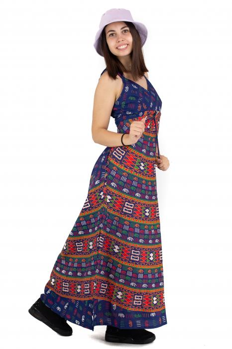 Rochie lunga din bumbac multicolora - Motive hinduse 1 [6]