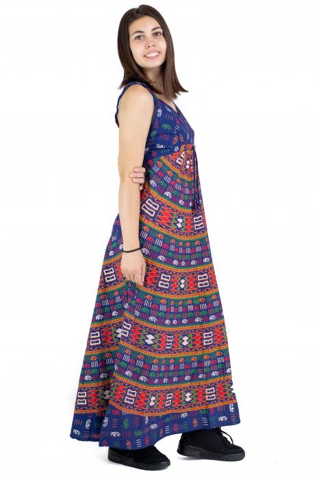 Rochie lunga din bumbac multicolora - Motive hinduse 1 [2]