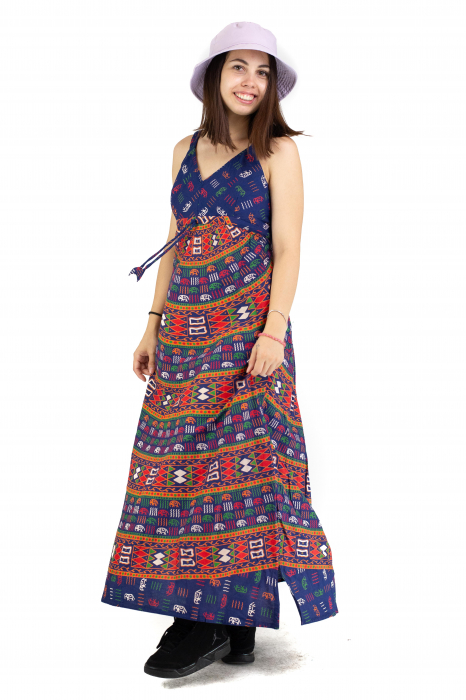 Rochie lunga din bumbac multicolora - Motive hinduse 1 [4]