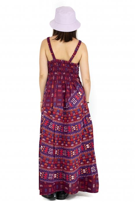 Rochie lunga din bumbac multicolora - Motive hinduse 3 [5]