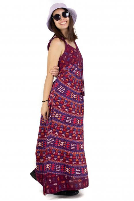 Rochie lunga din bumbac multicolora - Motive hinduse 3 [2]