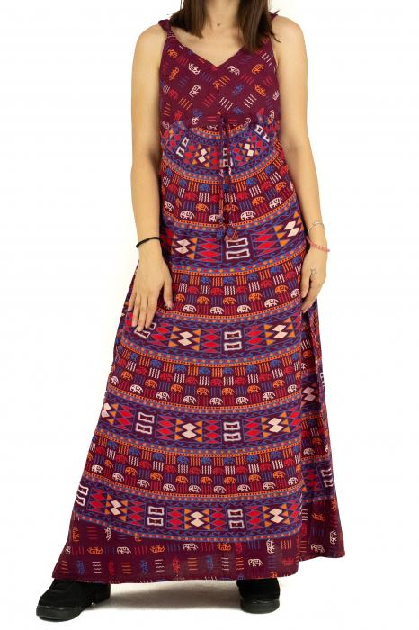 Rochie lunga din bumbac multicolora - Motive hinduse 3 [0]