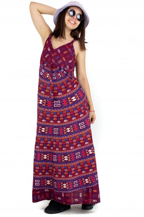 Rochie lunga din bumbac multicolora - Motive hinduse 3 [3]