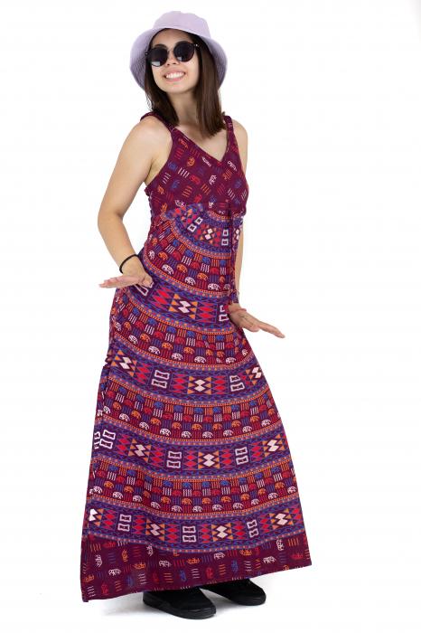 Rochie lunga din bumbac multicolora - Motive hinduse 3 [4]