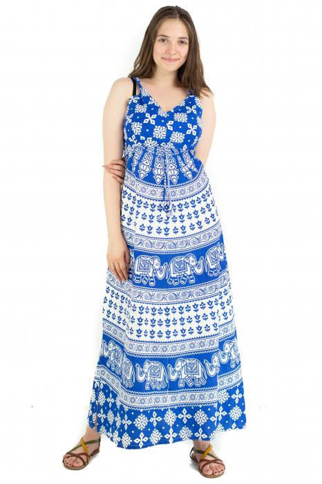 Rochie lunga din bumbac multicolora - Motive hinduse 5 [1]