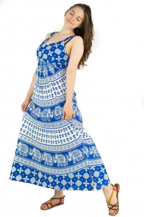 Rochie lunga din bumbac multicolora - Motive hinduse 5 [3]