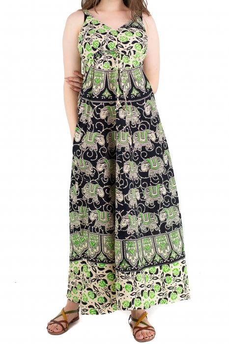 Rochie lunga din bumbac multicolora - Motive hinduse 8 [0]