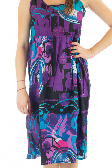 Rochie medie din bumbac cu print abstract 2