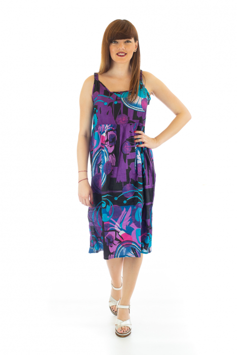 Rochie medie din bumbac cu print abstract 0