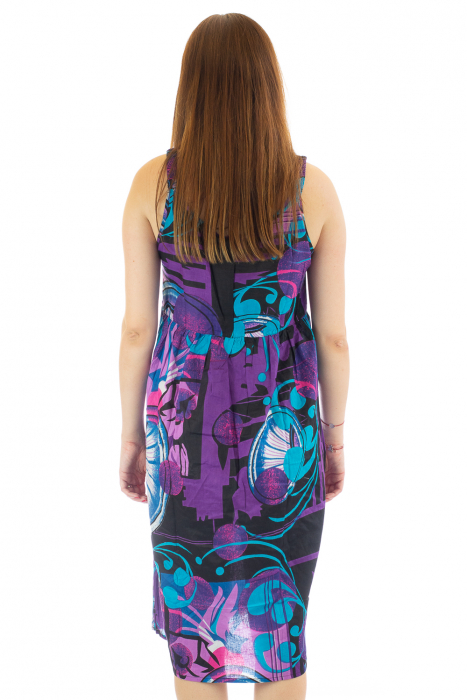 Rochie medie din bumbac cu print abstract 6