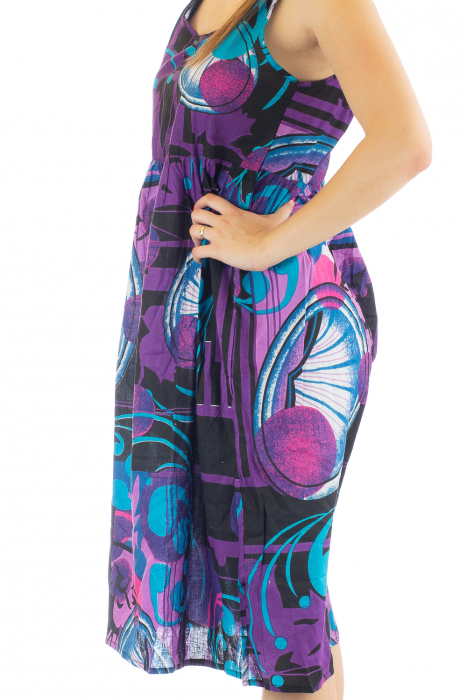 Rochie medie din bumbac cu print abstract 4