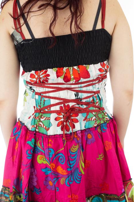 Rochie multicolora de plaja - Flower Mix - Roz 3