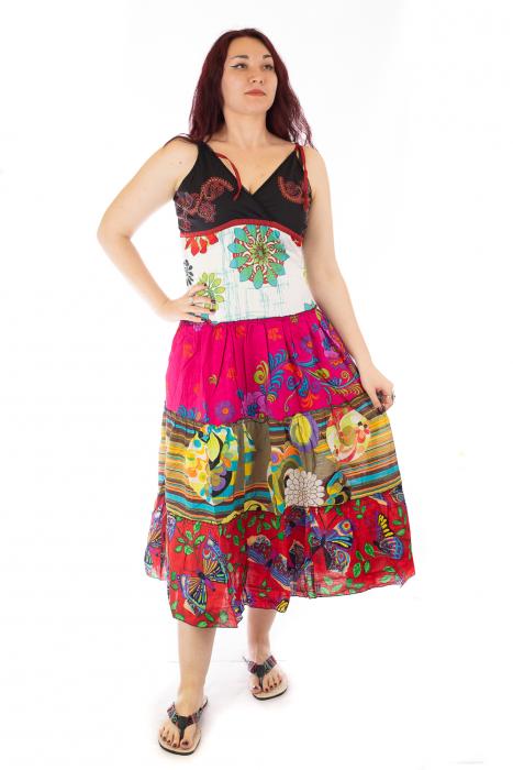 Rochie multicolora de plaja - Flower Mix - Roz 0