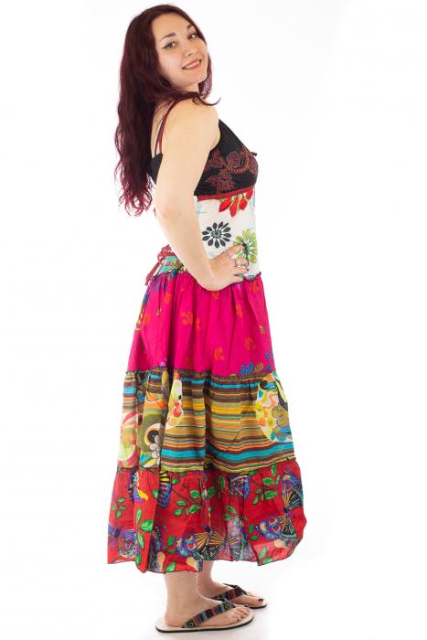 Rochie multicolora de plaja - Flower Mix - Roz 1