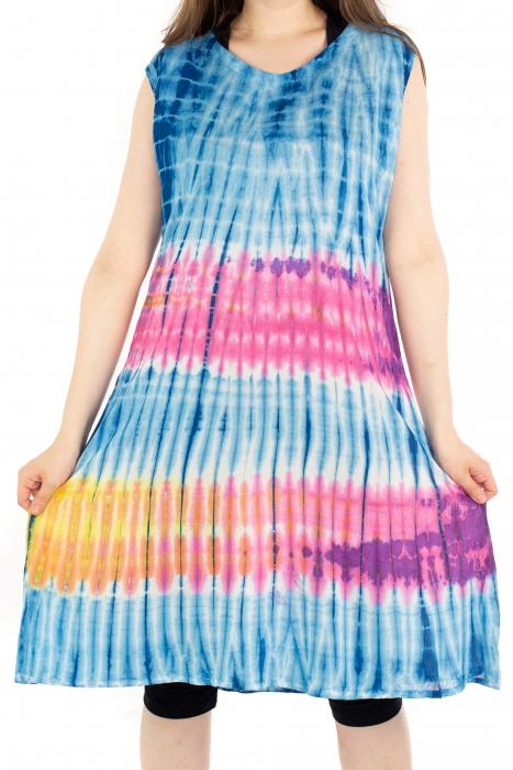 Rochie Tie-Dye din rayon - Albastra [1]