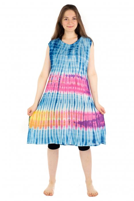 Rochie Tie-Dye din rayon - Albastra [3]