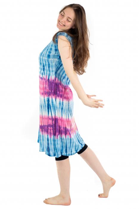 Rochie Tie-Dye din rayon - Albastra [5]