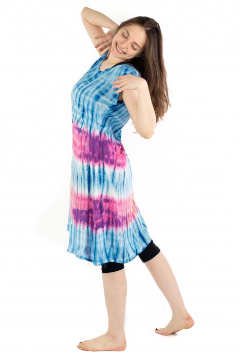 Rochie Tie-Dye din rayon - Albastra [4]