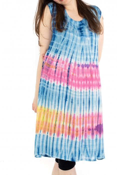 Rochie Tie-Dye din rayon - Albastra [0]