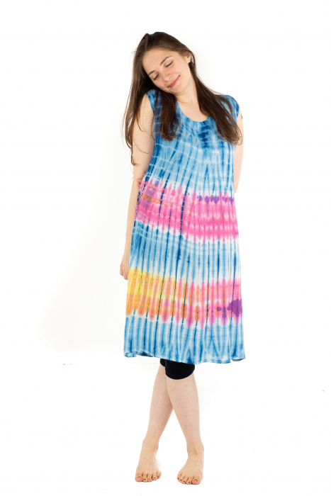 Rochie Tie-Dye din rayon - Albastra [2]