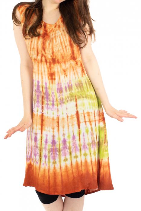 Rochie Tie-Dye din rayon - Portocalie [1]