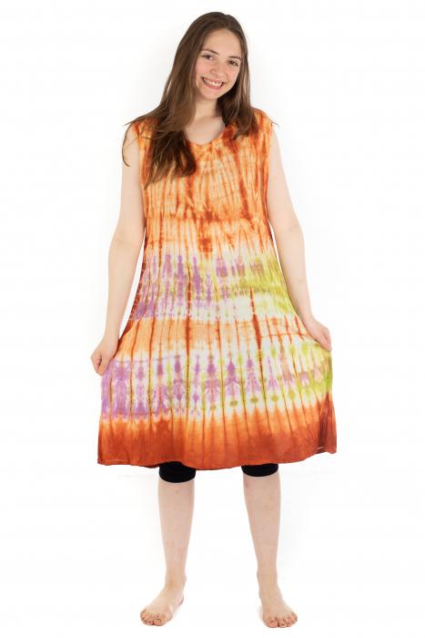 Rochie Tie-Dye din rayon - Portocalie [2]