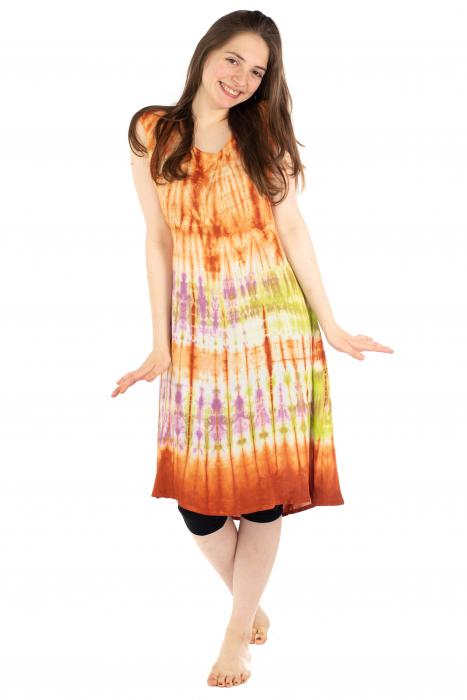 Rochie Tie-Dye din rayon - Portocalie [4]